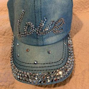 Bejeweled Rhinestone Love baseball cap